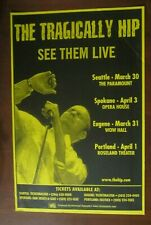 Tragically Hip Seattle Spokane Eugene Portland Concert Original Show Poster