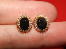 & Sapphire Halo Earrings 6/10Th Inch Tall New listing 14K Solid Yellow 4.32 Tcw Diamond