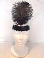 Vintage 1920 S Clapet Fascinator Noir Serre-tête plume Gatsby Native Indian UK