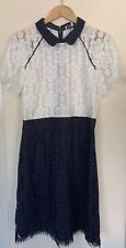 Gerard Darel Women Navy White Mix Short Sleeve Midi A Line dress size FR44(14-16