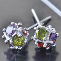 HOT jewelry rainbow crystal Crystals 9K White Gold Plated womens Stud Earrings