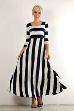 833cba0f61 PLUS SIZE NAUTICAL NAVY BLUE   WHITE STRIPED LONG MAXI BOHO DRESS USA 1X 2X  3X