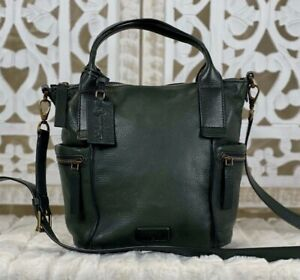 FOSSIL EMERSON Small Forest Green Leather Satchel Purse Crossbody Messenger Bag