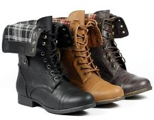 Faux Leather Fold Down Plaid Mid Calf Lace Up Combat Military Boot Rice-69