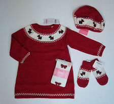 NWT Gymboree Holiday Friend 2T Scottie Dog Sweater Dress Hat Mittens Bow Tights