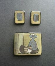 Mid Century Modernist Denmark Ceramic Brooch & Earrings Astrid Tjalk Fyrbo