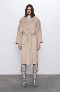 Zara Biege Camel Wool Blend Wraparound Collar Coat Size XS BNWT RRP £129