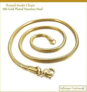 18K Gold Plated Stainless Steel Round Snake Chain Necklace Men Women 1mm-3mm
