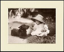SCOTTISH TERRIER AND BABY GIRL CHARMING DOG PHOTO PRINT MOUNTED READY TO FRAME