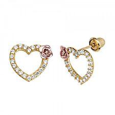 14K Yellow Gold Diamond Heart Rose Kids Baby Children's Stud Earring Screw Back