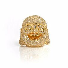 Noir Buddha Ring Gold with Cubic Zirconia Size 7