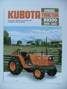 KUBOTA B8200 2WD & 4WD Diesel Compact Tractor Original 1983 Sales Leaflet
