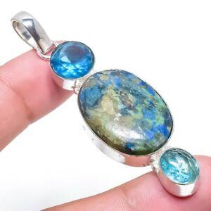 Shattuckite, Blue Topaz Gemstone Handmade 925 Silver Jewelry Pendant 7.1 DS-675