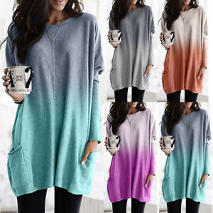 Womens Long Sleeve Pockets Baggy Tunic Tops Ladies Loose T-shirt Pullover Blouse