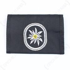 Alemán Edelweiss Cartera -flower Logo - Gancho y lazo - Militar Cartera - Negro