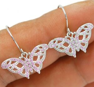 Butterfly- Pink Sapphire 925 Solid Genuine Sterling Silver Earrings Jewelry