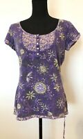 Ladies Top Size 10 Mantaray Purple Floral <SW5619