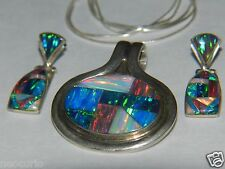 oPAL INLAY STERLING ART PENDANT EARRINGS MATCHING JEWELRY SET W/ CHAIN neocurio