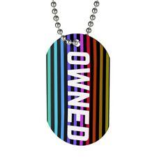 Owned with Rainbow Stripes Dog Tag- Gay LGBTQ Fetish BDSM