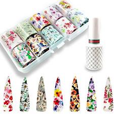 10 Color Nail Art Foil Glue Gel, Flowers Nail Transfer Foils Fresh Nails Supply