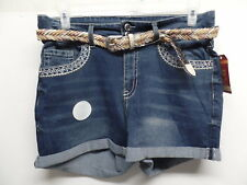 NWT ✿ Faded Glory Women's Size 22W Belted Blue Bling Denim Shorts