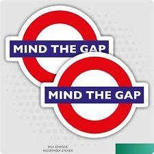 2 x Underground Mind The Gap Warning Self Adhesive Stickers Safety Business