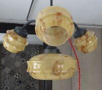 Art Deco Ceiling Light Lamp Chandelier~4 Bohemian Caramel Slag Glass Shade Globe