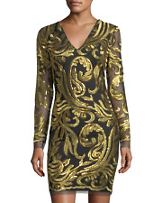 Alexia Admor New Sequin Embroidered Long Sleeve Dress NWT Black Gold S $229