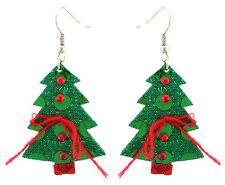 Zest Albero di Natale Orecchini con Perline Luccicante-perforate Orecchie Verde & Rosso