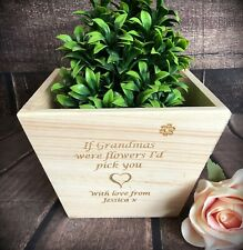 Personalised Plant Pot Holder Mother's Day Gift Flower Box Planter Large Wooden