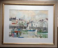 Dipinto a Olio Moderno Astratto circa 1960 Mediterraneo Porto ° Antico Telaio