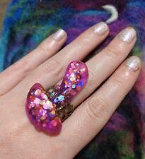 Toadstool Resin Glitter Ring Quirky Mushroom Adjustable Statement Filigree