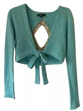 Sky Brand Aqua Wool Rhinestone Back Cropped Sweater Small