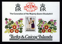 TURKS & CAICOS ISLANDS 1978 Coronation 25th Anniversary Mini-Sheet SG MS498 MNH