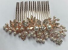 Simply Beautiful Vintage Style Crystal & Pearls Rose Gold Bridal Hair Comb.