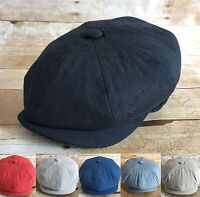 Men's 100% Cotton Cabbie Newsboy Applejack Paperboy Snapbill Ivy Hat Solid Color