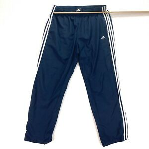 Adidas Men's X-Large Track Pants Navy Blue Ankle Zip Mesh Lining 36x32