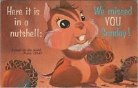 In A Nutshell We Missed You Sunday With Eisenhower Stamp Chrome Vintage Postcard
