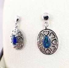 Love Heart Style Genuine Opal Triplet Drop Earrings Sterling Silver with Cert