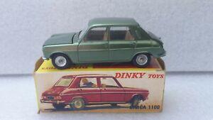 DINKY TOYS ESPAGNE REF 1407 SIMCA 1100 VERT METAL QUASI NEUVE + BOITE D ORIGINE