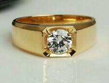 Stunning Men 1.50ct solitaire Moissainite 18K Plain Gold Plated  Wedding Ring
