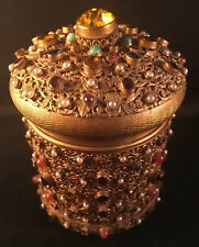 Heavily Jeweled Austrian Gilt Metal / Brass Jewelry Music Box
