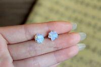 iSTONE Natural Sri Lanka Opal Opalite stone Screw Back Flowers stud A Pair
