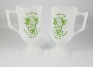 "2x Vintage milk glass mug 1975 ""Happy Kelly Week"" Irish Coffee cup - Leprechaun"