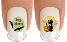 Nail Art #745H Halloween Black Cat and Bats #2 WaterSlide Nail Decals Transfers