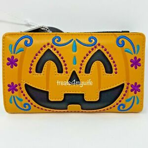 NWT GENUINE Loungefly Halloween Pumpkin Face Flap Wallet Clutch Jack-O'-Lantern