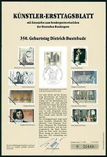 BRD KÜNSTLER-ETB 1987/13 DIETRICH BUXTEHUDE KÜNSTLER-ERSTTAGSBLATT LTD. EDITION