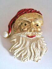 Vintage Santa Claus Christmas Brooch Pin Gold Tone Enamel Faux Pearl