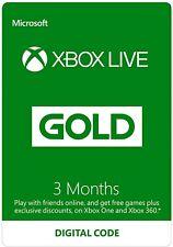 Xbox Live Gold 3 mes membresía Xbox One/Xbox 360-Entrega Inmediata