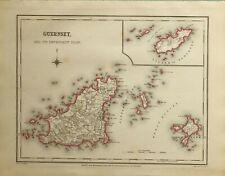 1845 ANTIQUE COUNTY MAP GUERNSEY ISLE ISLAND OF ALDERNEY SARK ST PETER PORT